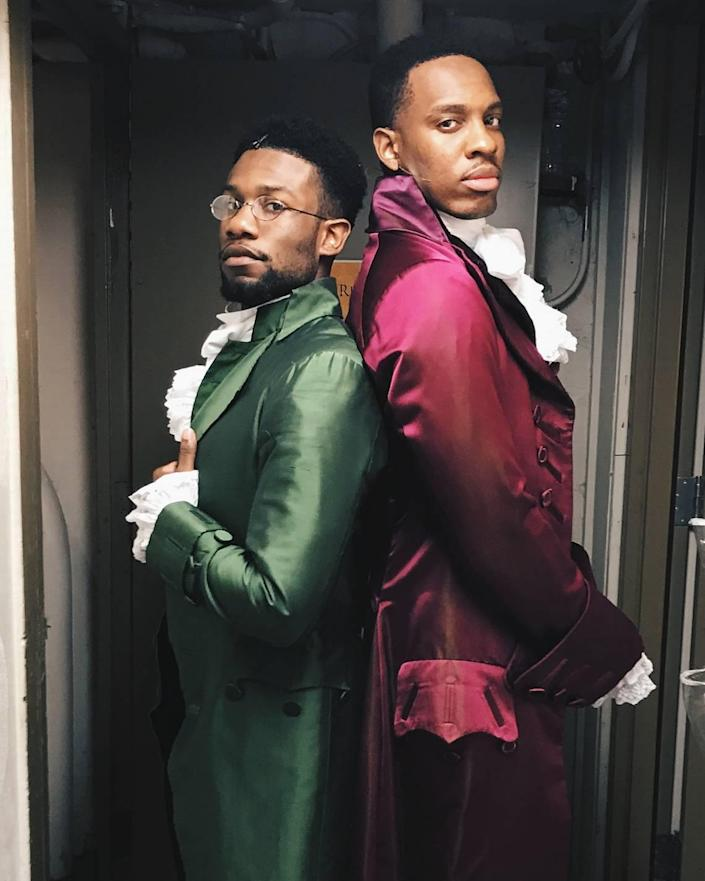 """Phillip Johnson-Richardson (left) was a student of Corey Mitchell's at Northwest School of the Arts. Johnson-Richardson and Colby Lewis (also of Charlotte) appeared in the Chicago cast of """"Hamilton."""" Johnson-Richardson was understudy for the role of Hamilton and played the dual part of Hercules Mulligan/James Madison."""