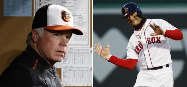 Orioles manager Buck Showalter might be Red Sox right fielder Mookie Betts' biggest fan outside Boston. (AP Photos)
