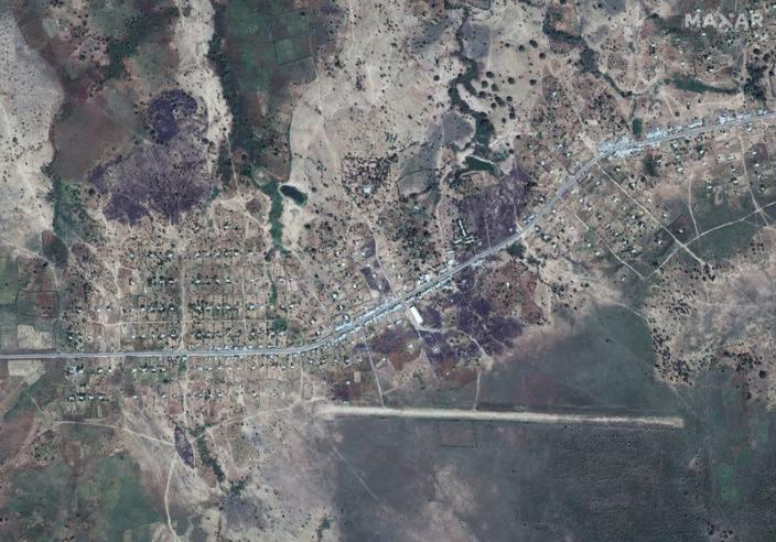 An overview of Dansha airport and destroyed buildings in Dansha, Ethiopia