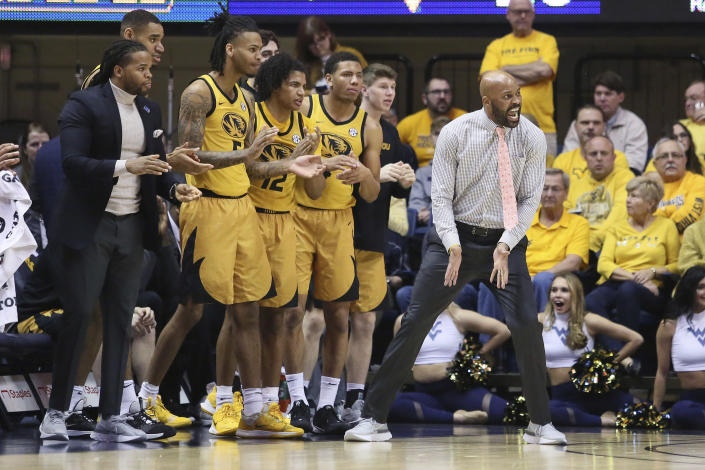 Missouri coach Cuonzo Martin reacts to a call during the first half of an NCAA college basketball game against West Virginia Saturday, Jan. 25, 2020, in Morgantown, W.Va. (AP Photo/Kathleen Batten)