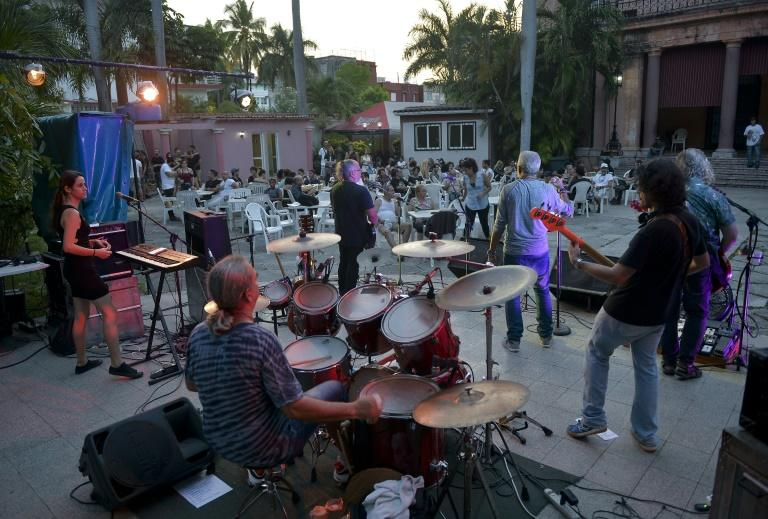 Vieja Escuela is one of several Cuban rock bands that plays regular gigs in Havana (AFP Photo/YAMIL LAGE)