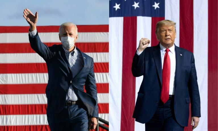 Democratic presidential candidate Joe Biden (left) accuses Trump of surrendering to the virus, but the president continues to defy his own administration's Covid-19 guidelines