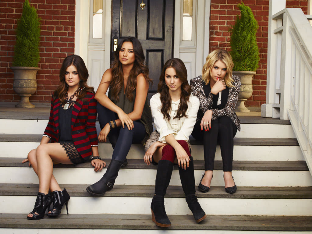 "ABC Family's ""Pretty Little Liars"" stars Lucy Hale as Aria Montgomery, Shay Mitchell as Emily Fields, Troian Bellisario as Spencer Hastings and Ashley Benson as Hanna Marin."