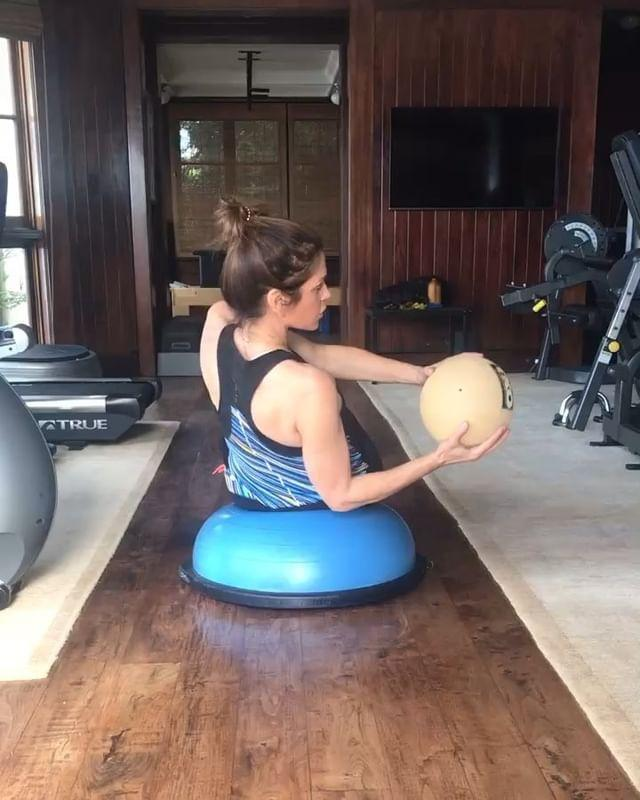 """<p>You don't get hardcore results like Cindy's by just doing situps. You need to find ways to continue to challenge your body. Take this abs move, for example. Balancing on a BOSU ball adds instability and makes her have to engage her abs more in order to perform these <a href=""""https://www.womenshealthmag.com/uk/fitness/workouts/a35587594/russian-twists/"""" rel=""""nofollow noopener"""" target=""""_blank"""" data-ylk=""""slk:Russian twists"""" class=""""link rapid-noclick-resp"""">Russian twists</a>, while holding that medicine ball away from her body as she rotates not only works her biceps and triceps but her obliques, too.</p><p><strong>RELATED: </strong>So this is the correct way to do <a href=""""https://www.womenshealthmag.com/uk/fitness/workouts/a35587594/russian-twists/"""" rel=""""nofollow noopener"""" target=""""_blank"""" data-ylk=""""slk:Russian twists"""" class=""""link rapid-noclick-resp"""">Russian twists</a>. Good to know.</p><p><a href=""""https://www.instagram.com/p/BvPN4vHFZCM/?utm_source=ig_embed&utm_campaign=loading"""" rel=""""nofollow noopener"""" target=""""_blank"""" data-ylk=""""slk:See the original post on Instagram"""" class=""""link rapid-noclick-resp"""">See the original post on Instagram</a></p>"""