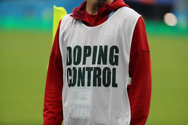 "A ""Doping Control"" tabard during the 2018 World Cup. (Getty Images)"