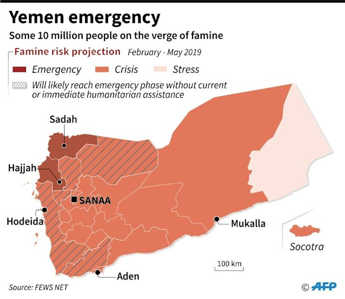 Map showing famine risk projection for Yemen