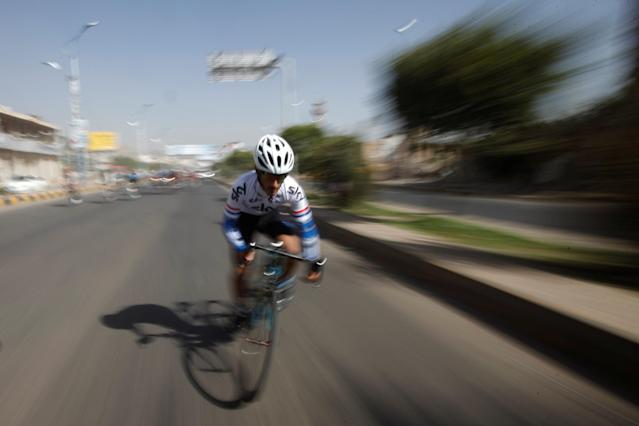 A cyclist takes part in a race marking the National Cycling Day in Sanaa, Yemen May 10, 2018. REUTERS/Mohamed al-Sayaghi