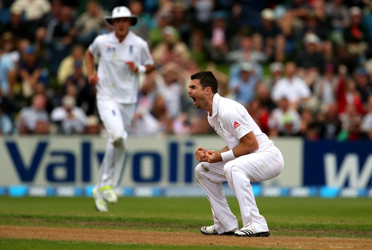 DUNEDIN, NEW ZEALAND - MARCH 08:  James Anderson of England celebrates his wicket of Ross Taylor of New Zealand during day three of the First Test match between New Zealand and England at University Oval on March 8, 2013 in Dunedin, New Zealand.  (Photo by Phil Walter/Getty Images)
