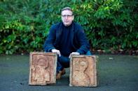 Dutch art detective Arthur Brand with the two recovered stone Visigoth reliefs