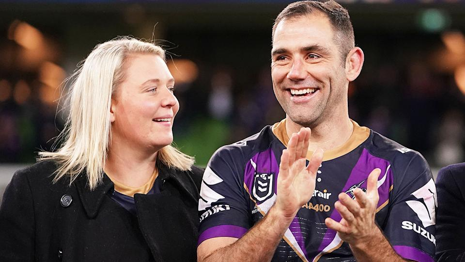Cameron Smith and wife Barb, pictured here before a game for Melbourne Storm in 2019.