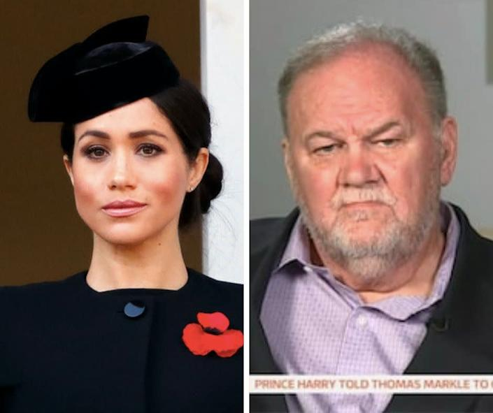 "Meghan and her father, Thomas Markle.  (Photo: Getty/""Good Morning Britain"")"