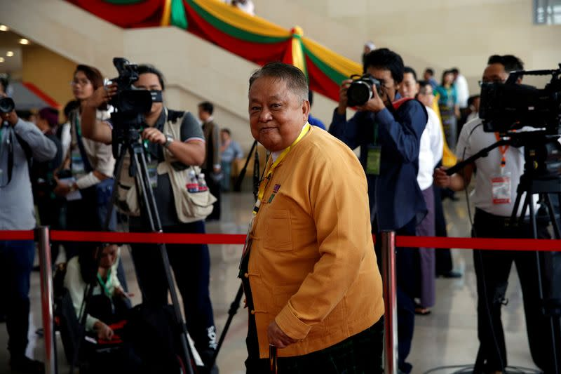 FILE PHOTO: Win Htein, one of the leaders of National League for Democracy party, arrives to attend opening ceremony of 21st Century Panglong conference in Naypyitaw