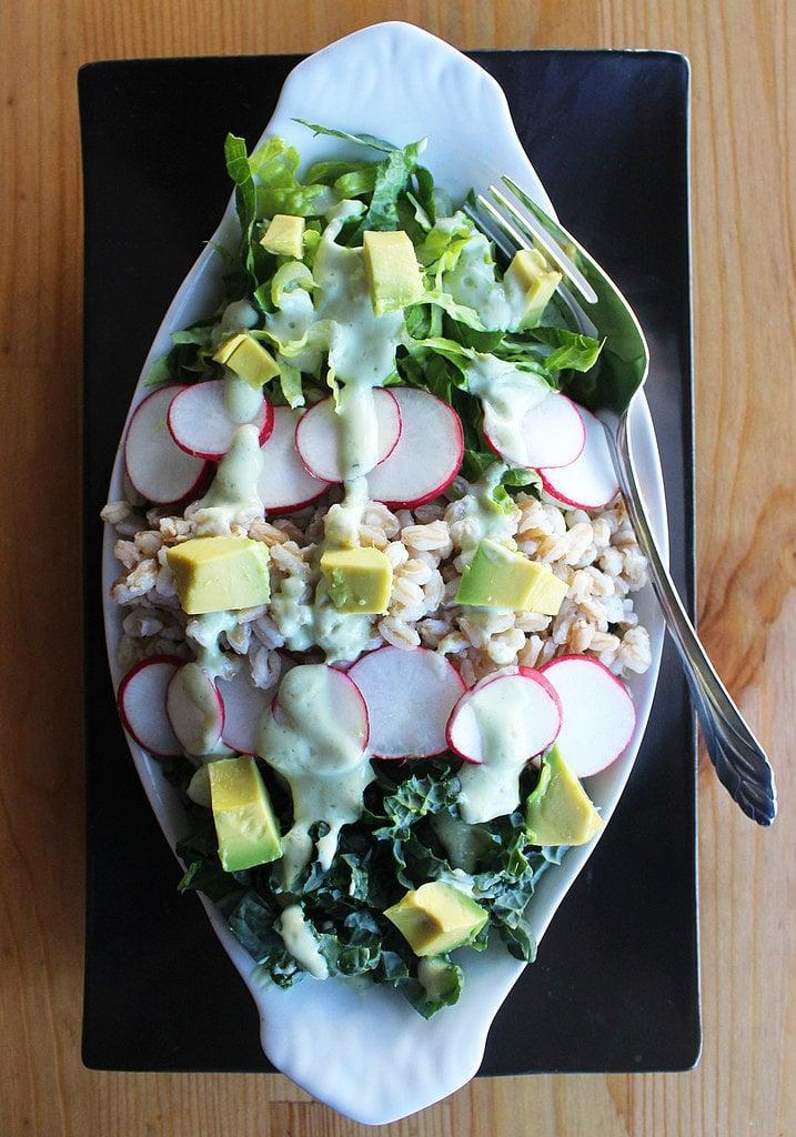 "<p>Classic and crisp, if you're in need of some extra protein with this salad, add some grilled chicken or white beans to the mix.</p> <p><strong>Calories:</strong> 236<br> <strong>Protein:</strong> 9.3 grams</p> <p><strong>Get the recipe:</strong> <a href=""https://www.popsugar.com/fitness/Farro-Kale-Salad-35984054"" class=""link rapid-noclick-resp"" rel=""nofollow noopener"" target=""_blank"" data-ylk=""slk:kale and farro salad"">kale and farro salad</a></p>"