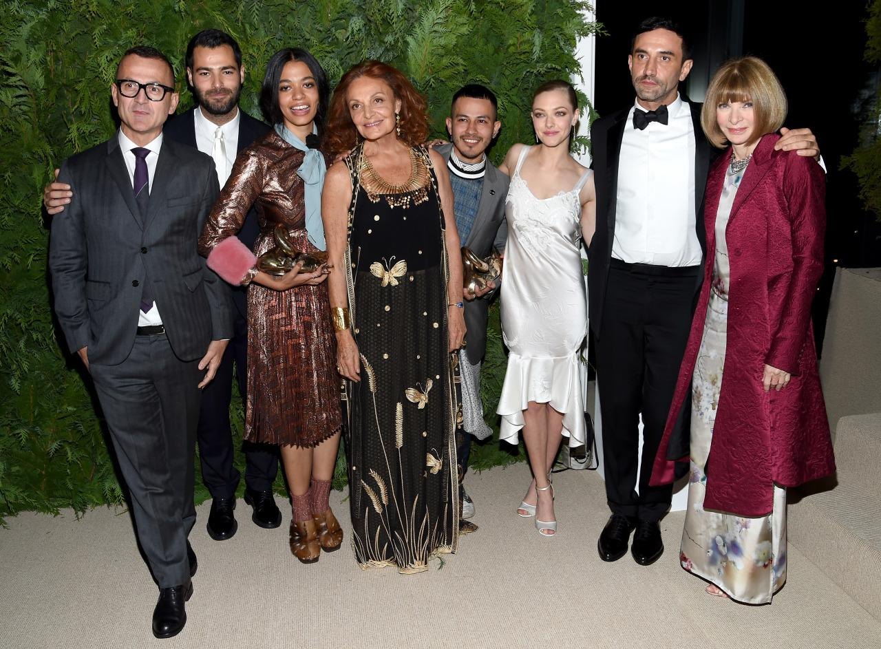 <p>From left CFDA's Steven Kolb, Jonathan Simkhai, Brother Vellies' Aurora James, Diane von Furstenberg, Rio Uribe of Gypsy Sport, Amanda Seyfried, Riccardo Tisci, and Anna Wintour. <i>Photo: Getty Images</i></p>