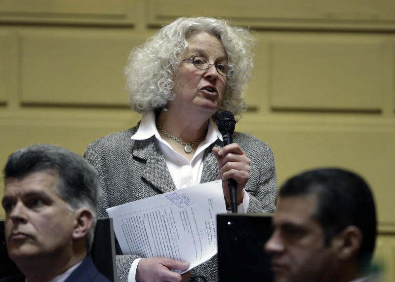 Rhode Island State Rep. Edith Ajello, D-Providence, opens discussion on a same-sex marriage bill on the floor of the House Chamber at the Statehouse, in Providence, R.I., Thursday, Jan. 24, 2013. The House overwhelmingly passed legislation Thursday to allow gay couples to marry. (AP Photo/Steven Senne)