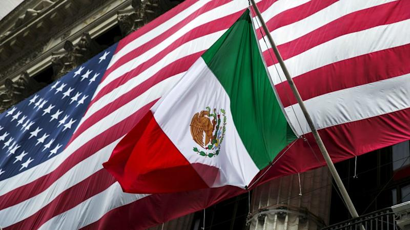The US and Mexico flags