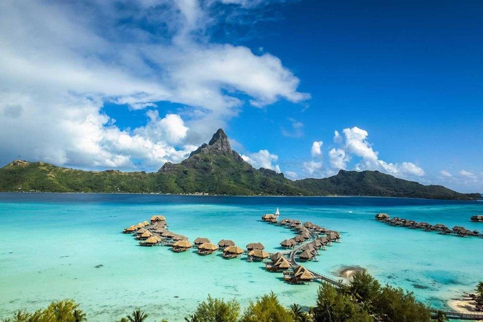 Overview of overwater villas at the InterContinental Bora Bora Resort & Thalasso Spa, voted one of the best hotels in the world