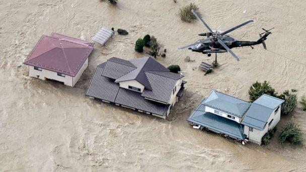 PHOTO: A photo taken from a Kyodo News helicopter, Oct. 13, 2019, shows houses in Nagano, central Japan, submerged after the Chikuma River overflowed due to Typhoon Hagibis. (Kyodo/Newscom)
