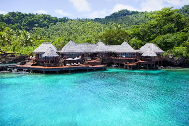"<h2>Fiji</h2> <p>Breathtaking beaches are served up with a side of adrenaline in Fiji, and the uber-exclusive <a href=""http://laucala.com/"" rel=""nofollow noopener"" target=""_blank"" data-ylk=""slk:Laucala Resort"" class=""link rapid-noclick-resp"">Laucala Resort</a> offers innumerable ways to stir it up. Book one of the traditional (albeit very luxurious) Fijian villas and set off on horseback to discover the beauty of the island. Later try your hand at manning a Dragon sailboat or Fijian outrigger, go windsurfing, or explore the rainforest by foot. The reef encircling Laucala is spectacular, so don't miss an up-close-and-personal view via snorkel or scuba. Or, slide into the DeepFlight Super Falcon Mark 2 submarine, sit back and take it all in.</p>"