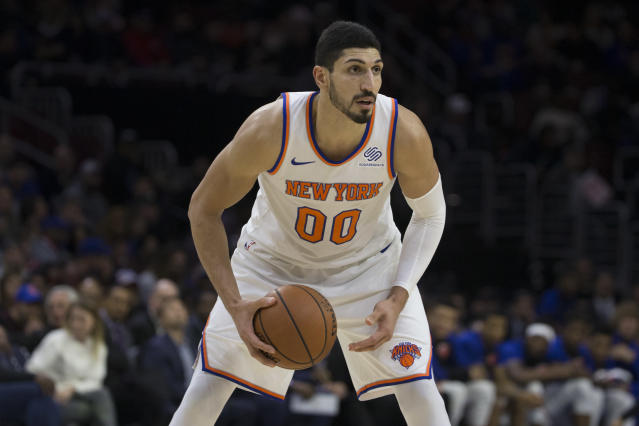 "<a class=""link rapid-noclick-resp"" href=""/nba/players/4899/"" data-ylk=""slk:Enes Kanter"">Enes Kanter</a> was quick to call out the NBA and question its Instagram post celebrating Turkish players. (Mitchell Leff/Getty Images)"