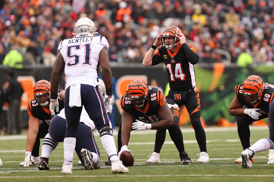 CINCINNATI, OH - DECEMBER 15: Cincinnati Bengals quarterback Andy Dalton (14) calls a play during the game against the New England Patriots and the Cincinnati Bengals on December 15th 2019, at Paul Brown Stadium in Cincinnati, OH. (Photo by Ian Johnson/Icon Sportswire via Getty Images)