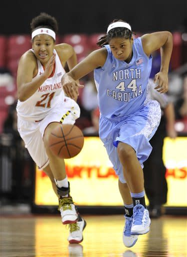 CORRECTS TO RUFFIN-PRATT NOT RUFFIN - North Carolina's Tierra Ruffin-Pratt, right, races downcourt on a turnover as Maryland's Tianna Hawkins pursues during the first half of an NCAA college basketball game on Thursday, Jan. 24, 2013, in College Park, Md. (AP Photo/Gail Burton)