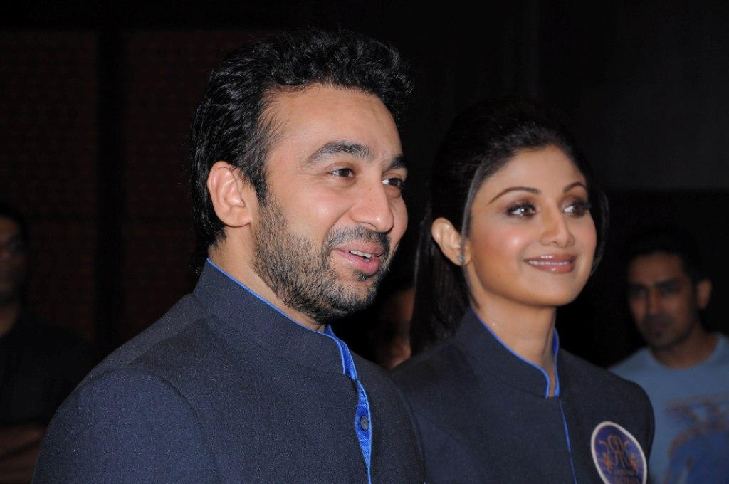 Rajasthan Royals co-owners Raj Kundra and Shilpa Shetty at the the Rajasthan Royals-Provogue Fanwear Launch at Hotel Marriott in Jaipur on Monday