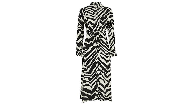 Zebra Print Belted Midi Shirt Dress