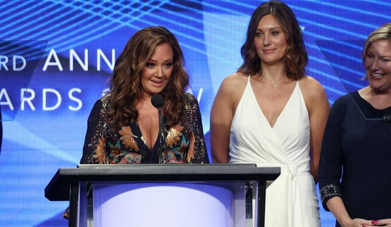 Leah Remini accepts award for Aftermath docuseries. [Featured Image by Frederick M. Brown/Getty Images]