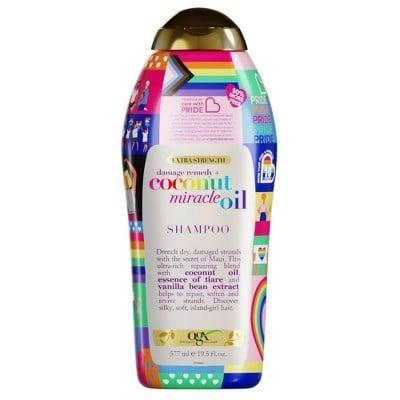 <p>OGX partnered with Johnson &amp; Johnson and the Care with Pride initiative to give back and donate to Family Equality, a non-profit organization fighting to protect<br> and support LGBTQIA families, with every purchase of a OGX Care with Pride item. Treat your hair to the <span>OGX Care with Pride Coconut Miracle Oil Shampoo</span> ($9) or the <span>OGX Care with Pride Coconut Miracle Oil Shampoo</span> ($7)</p>