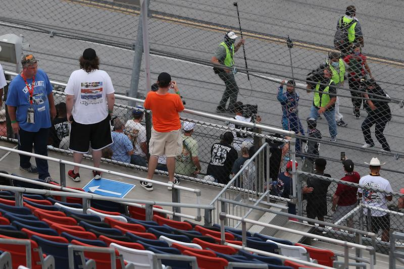 TALLADEGA, ALABAMA - JUNE 22: Fans cheer for Bubba Wallace, driver of the #43 Victory Junction Chevrolet, after the NASCAR Cup Series GEICO 500 at Talladega Superspeedway on June 22, 2020 in Talladega, Alabama. (Photo by Brian Lawdermilk/Getty Images)