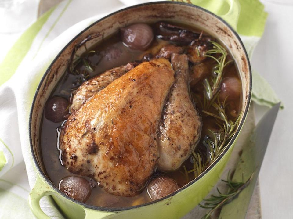 """<p>Take a traditional coq au vin and mix it up a bit, using autumn's gift of guinea fowl. Try <a href=""""https://www.deliaonline.com/recipes/international/european/french/guinea-fowl-au-vin"""" rel=""""nofollow noopener"""" target=""""_blank"""" data-ylk=""""slk:this recipe from Delia Smith"""" class=""""link rapid-noclick-resp"""">this recipe from Delia Smith</a> for a twist on a classic. [Photo: Rex] </p>"""