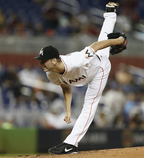 Miami Marlins starter Jacob Turner watches a pitch to the San Diego Padres during the second inning of a baseball game in Miami, Saturday, June 29, 2013. Turner threw a seven-hitter as the Marlins won 7-1. (AP Photo/J Pat Carter)