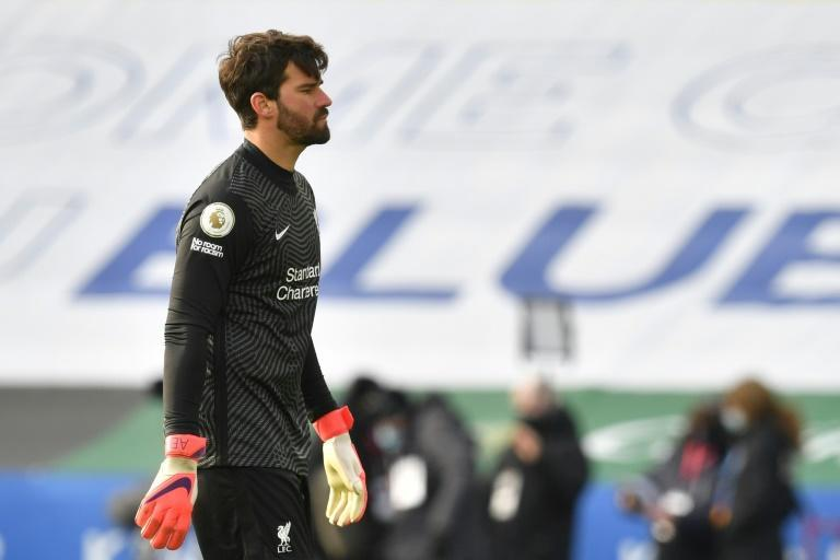 Feeling blue: Alisson Becker's blunder handed Jamie Vardy Leicester's second goal