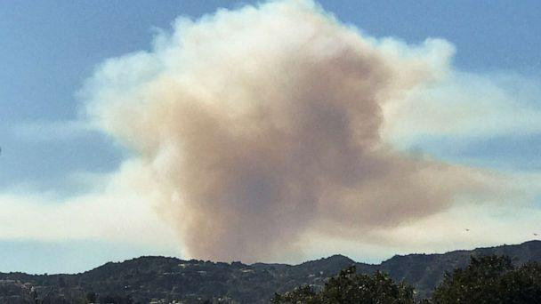 PHOTO: Smoke can be seen as a wild fire breaks out in the hills of Pacific Palisades in Los Angeles, Oct. 21, 2019. (Gene Blevins/Reuters)
