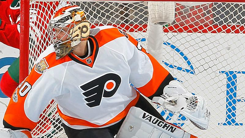 Flyers goalie Michal Neuvirth leaves game with apparent injury