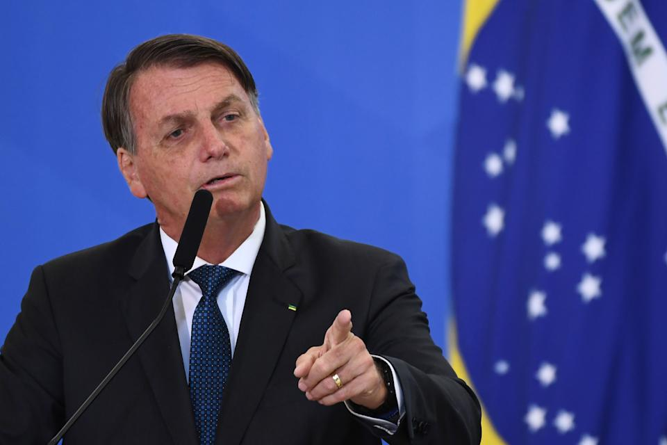 Brazilian President Jair Bolsonaro speaks during the inauguration ceremony of his new Tourism Minister Gilson Machado (not depicted) at Planalto Palace in Brasilia, on December 17, 2020. (Photo by EVARISTO SA / AFP) (Photo by EVARISTO SA/AFP via Getty Images)