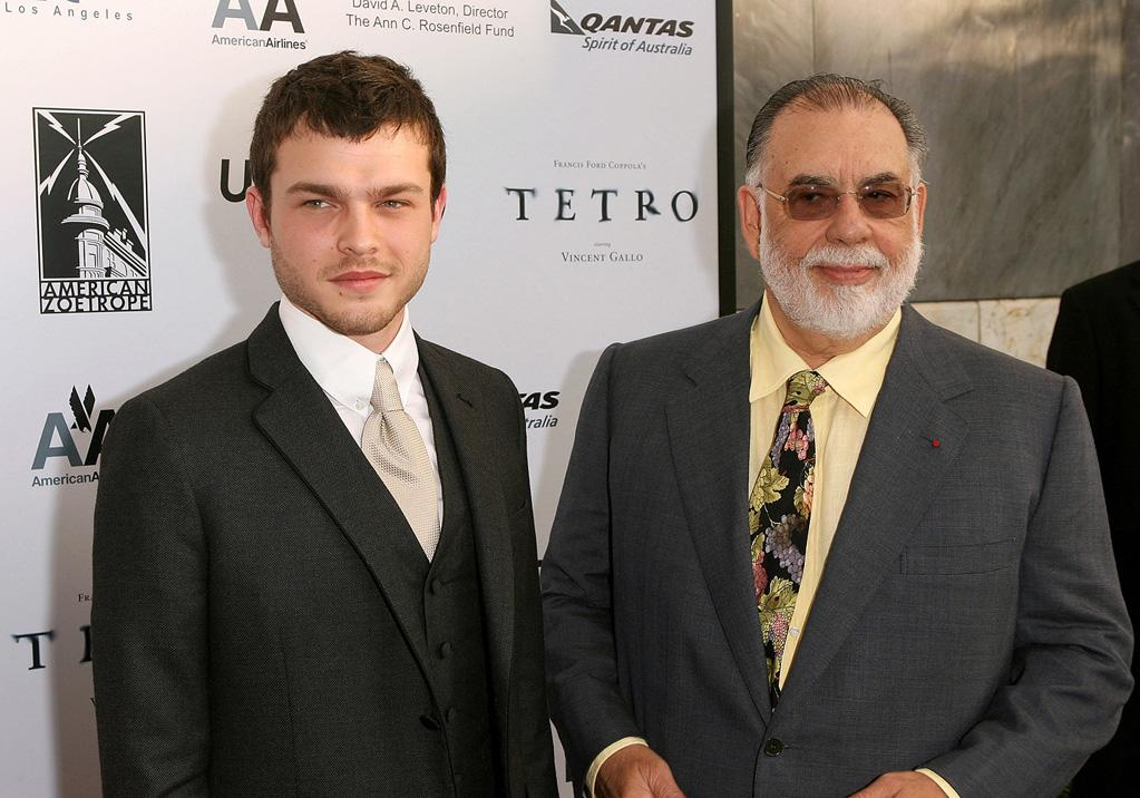 """Alden Ehrenreich and <a href=""""http://movies.yahoo.com/movie/contributor/1800017123"""">Francis Ford Coppola</a> at the Los Angeles premiere of <a href=""""http://movies.yahoo.com/movie/1810022037/info"""">Tetro</a> - 06/03/2009"""