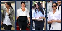"""<p class=""""body-dropcap"""">It might be a stretch, but one could say that a white button-down shirt brought Meghan Markle to Prince Harry. Misha Nonoo, a designer known for her dress shirts and a close friend of Meghan's, is <a href=""""https://www.townandcountrymag.com/society/a13970045/misha-nonoo-meghan-markle-prince-harry-matchmaker/"""" rel=""""nofollow noopener"""" target=""""_blank"""" data-ylk=""""slk:rumored to be the matchmaker"""" class=""""link rapid-noclick-resp"""">rumored to be the matchmaker</a> behind the couple. But whether or not Nonoo orchestrated the royal pairing, the Duchess of Sussex clearly has an affinity for the classic white button-down. She's been known to dress one up with a floor length skirt or simply pair one with jeans. It's a crucial component of the Duchess's expansive wardrobe. </p><p>It's fair to say that Meghan has become something of a white button-down connoisseur, testing out the top in a range of situations, materials, and styles; however, she is not loyal to one specific button-down designer, and tries out a variety of options from many of <a href=""""https://www.townandcountrymag.com/style/fashion-trends/g12478382/meghan-markle-favorite-fashion-brands-designers/"""" rel=""""nofollow noopener"""" target=""""_blank"""" data-ylk=""""slk:her favorite brands"""" class=""""link rapid-noclick-resp"""">her favorite brands</a>. Here, we've compiled some of the Duchess's all-time favorite white button-down shirts, so you can order yourself a royally-approved classic. </p>"""