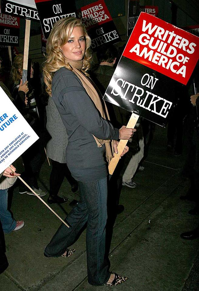 """Rebecca Romijn and the rest of the """"Ugly Betty"""" cast joined the Writer's Guild of America strike in Hollywood. Like many other scripted shows, the ABC comedy will eventually run out of written material unless an agreement is reached. Tonya Wise/London Entertainment/<a href=""""http://www.splashnewsonline.com"""" target=""""new"""">Splash News</a> - November 7, 2007"""
