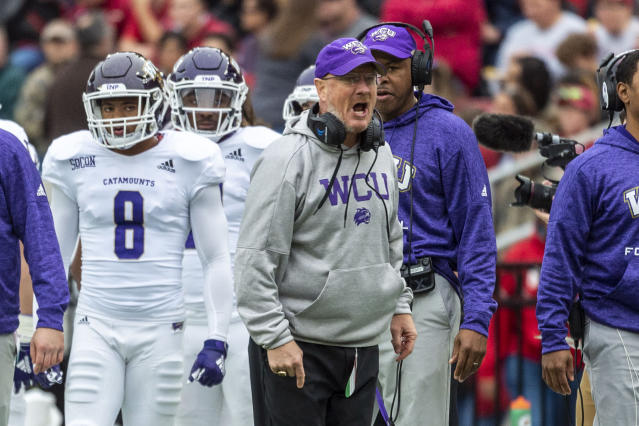 Western Carolina head coach Mark Speir yells at the officials during the first half of an NCAA college football game against Alabama, Saturday, Nov. 23, 2019, in Tuscaloosa, Ala. (AP Photo/Vasha Hunt)