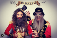 """<p>Nick and Vanessa Lachey hosted a """"Carnevil"""" Halloween party in 2017, so of course they dressed up as performers. Looks like they opted for the bearded lady and wolf man!</p>"""