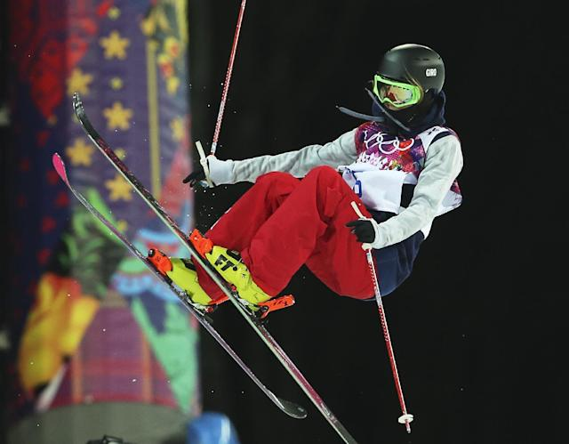 Brita Sigourney of the United States gets air during women's ski halfpipe qualifying at the Rosa Khutor Extreme Park, at the 2014 Winter Olympics, Thursday, Feb. 20, 2014, in Krasnaya Polyana, Russia. (AP Photo/Sergei Grits)