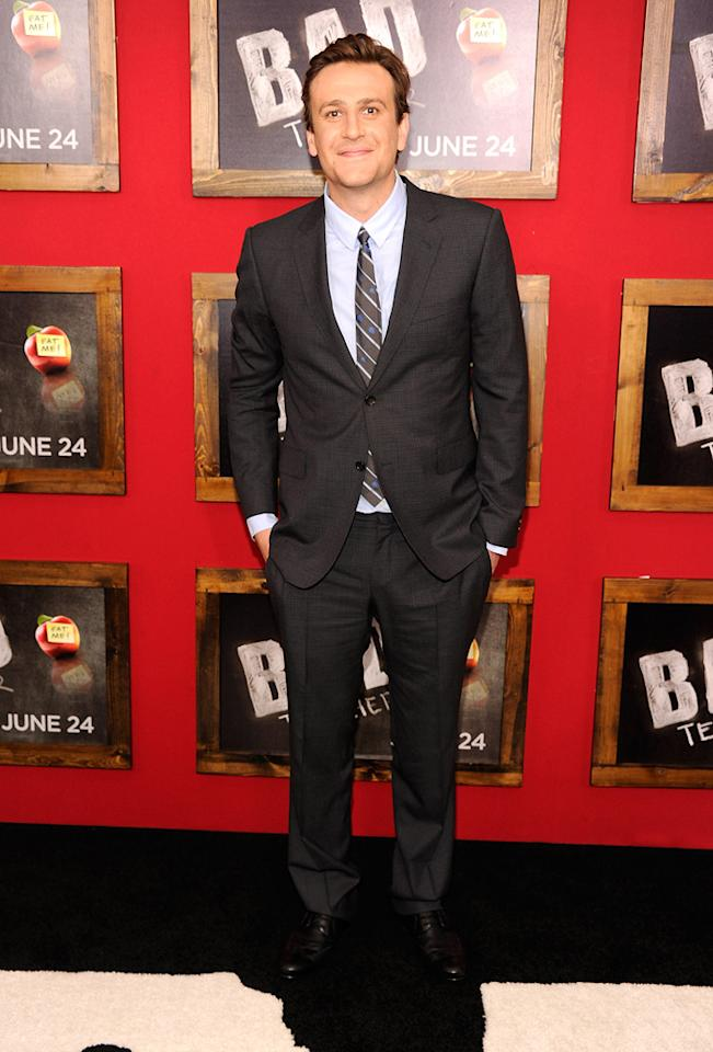 """<a href=""""http://movies.yahoo.com/movie/contributor/1800019331"""">Jason Segel</a> at the New York City premiere of <a href=""""http://movies.yahoo.com/movie/1810150690/info"""">Bad Teacher</a> on June 21, 2011."""