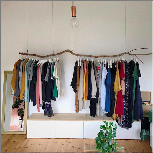 "<p>Need additional hanging storage? For a pretty <em>and </em>practical solution, suspend a branch on an empty wall to double as a clothing rack. </p><p>See more on Instagram at <a href=""https://www.instagram.com/p/B0Gcd0JIxHl/"" rel=""nofollow noopener"" target=""_blank"" data-ylk=""slk:@vren1984"" class=""link rapid-noclick-resp"">@vren1984</a>.</p>"
