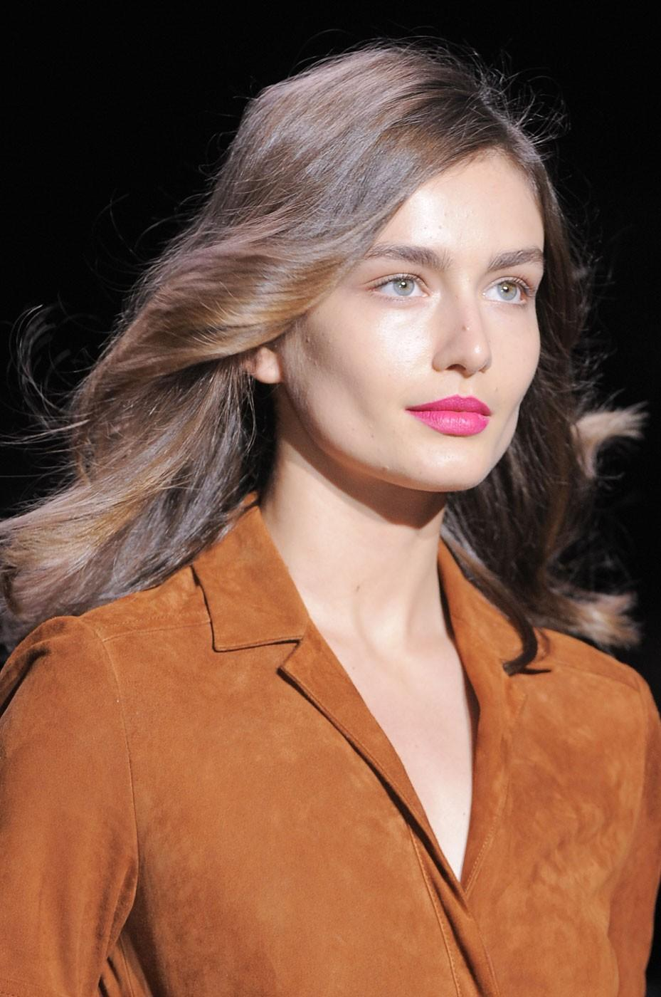 """<div class=""""caption-credit""""> Photo by: Stylecaster Pictures</div>Bold Lips: At Diane von Furstenberg, James Karliardos for MAC Cosmetics used Process Magenta Chromagraphic Pencil to get lips that were the """"life of the party."""" <br>"""