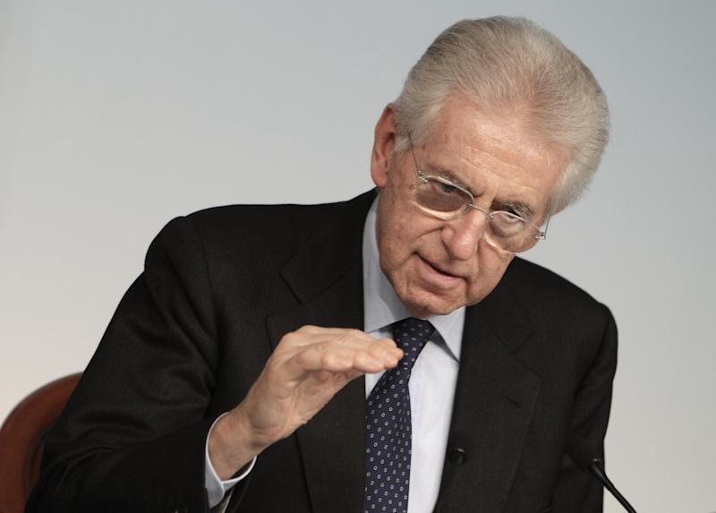 In this photo taken at Chigi Palace government's office in Rome, on  Dec. 6, 2012, Italian Premier Mario Monti gestures during a press conference at the end of a cabinet meeting. Premier Mario Monti told the Italian president Saturday, Dec. 8, 2012, he plans to resign following the sudden loss of support from Silvio Berlusconi's party, paving the way for early elections a year after the economist helped pull the country back from the brink of financial disaster. (AP Photo/Riccardo De Luca)
