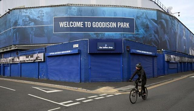 Everton's Goodison Park will host the Merseyside derby against Liverpool on June 21 behind closed doors (AFP Photo/Paul ELLIS)