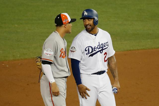 Manny Machado and Matt Kemp shared a moment at second base during Tuesday's All-Star Game. (Getty Images)
