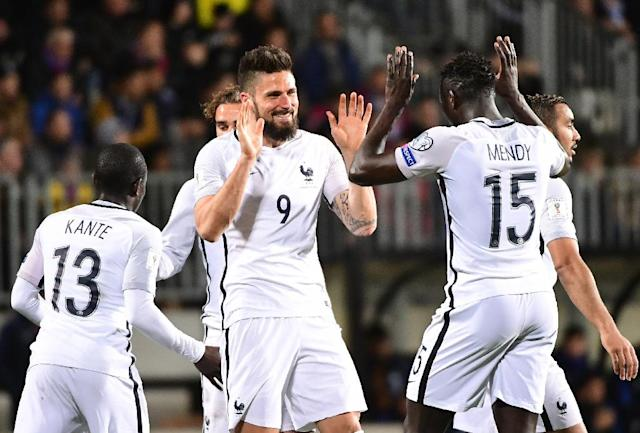 France's forward Olivier Giroud (C) celebrates after scoring against Luxembourg during their FIFA World Cup 2018 qualifier on March 25, 2017 at Josy Bartel stadium in Luxembourg (AFP Photo/EMMANUEL DUNAND)
